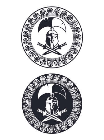 Symbol a Spartan helmet, an ornament in the Greek style.