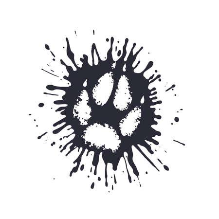 A predator paw print among the mud splashes.