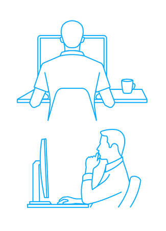 Silhouette of the person at the computer. Illustration