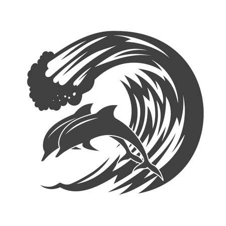 波に湧くイルカのパック。
