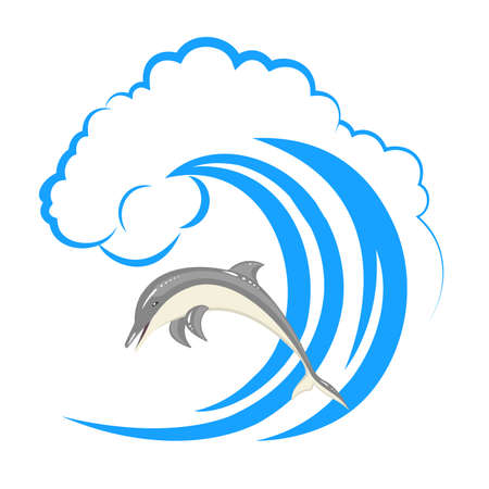 Pack of dolphins springing in waves. vector illustration on white background.