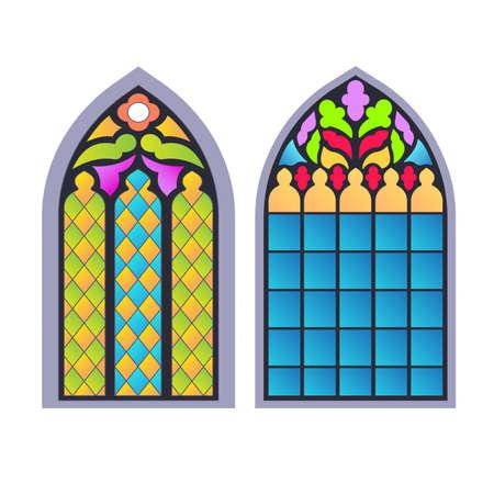 Gothic windows. Vintage frames. Church stained-glass windows Stock Illustratie