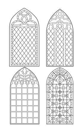 Gothic windows. Vintage frames. Church stained-glass windows 일러스트