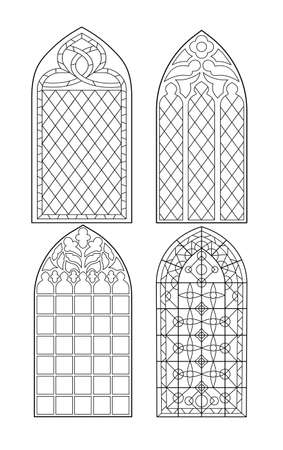 Gothic windows. Vintage frames. Church stained-glass windows Vettoriali