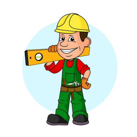 Ridiculous caricature the cheerful worker with the tool in hands a vector illustration. Ilustração