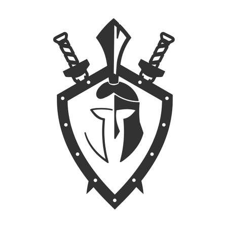 Military symbol of a spartan helmet on a board. Illustration