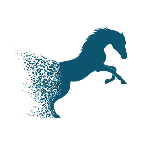Running horse from collapsing particles in grunge style.