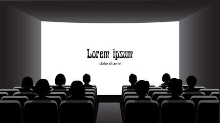 People in the cinema on the background of the screen.