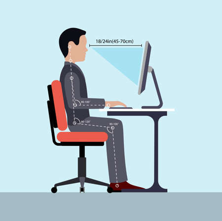 Infographics correct posture at the computer silhouette of a man at a table. 일러스트