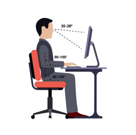 Infographics correct posture at the computer silhouette of a man at a table on a white background. 矢量图像