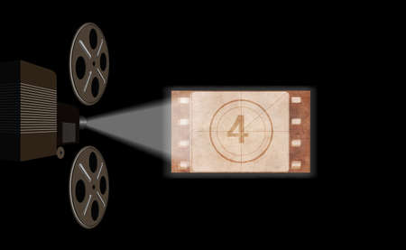 Film projector, film screening in the cinema. Illustration