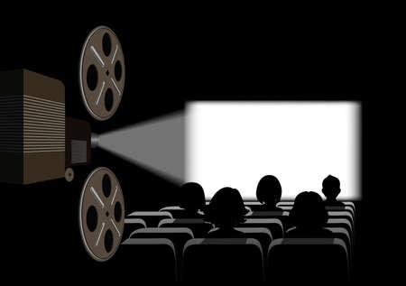 Film projector, film screening in the cinema. Ilustração