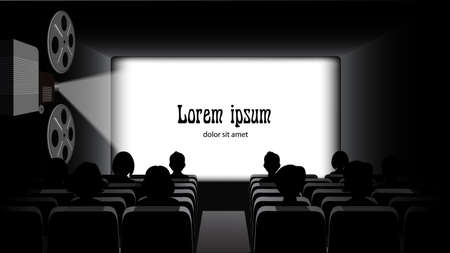 Film projector, film screening in the cinema. Vectores