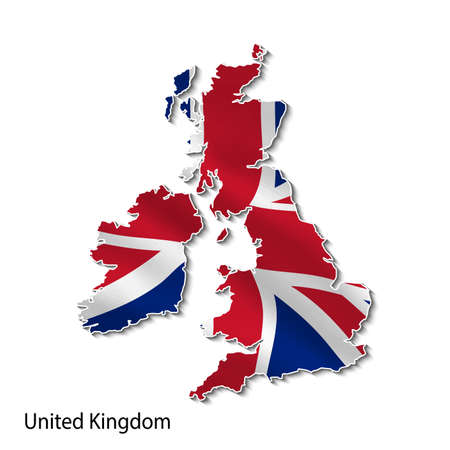 Map of the united kingdom with a national flag in 3d. 向量圖像