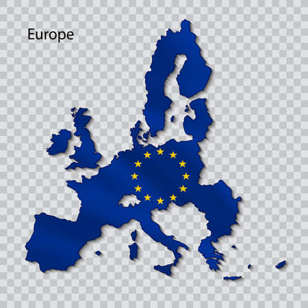 Map of the European Union with the flag on a transparent background. Banco de Imagens - 99932942