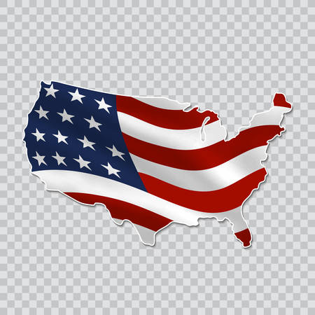 Map of the united states with a national flag on a transparent background.