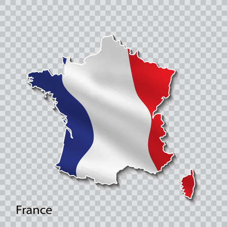 Map of France with national flag on transparent background. Vectores