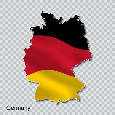 Map of germany with national flag on a transparent background.
