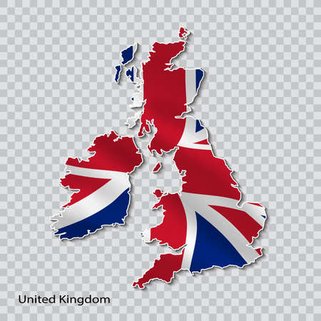 Map of united kingdom with a national flag on a transparent background.