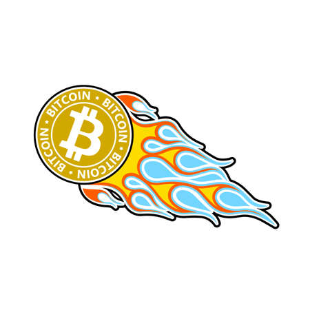 Bitcoin take off in the languages ??of the flame vector icon. Иллюстрация