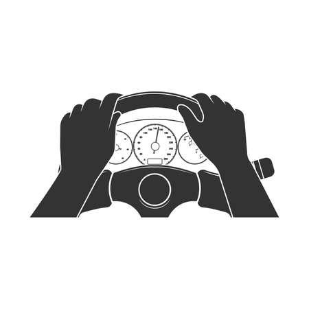 Man driving the car. lying on the steering wheel.