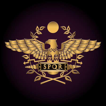 Golden symbol of a Roman eagle vector illustration. Illustration