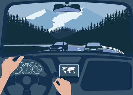 Ansicht der Straße von der Autoinnenraumvektorillustration. Vektorgrafik