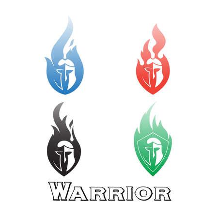 Logo Corinthian helmet in flame tongues. Illustration