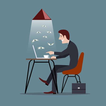 Mann ist am Computer beschäftigt mit dem Geldverdienen einer Vektorillustration.