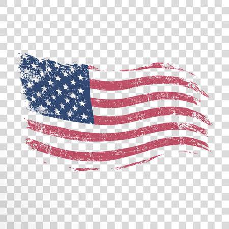 Amerykańska flaga w stylu grunge na przezroczystym tle. Ilustracje wektorowe
