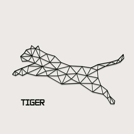 Jumping tiger abstract form from polygons.