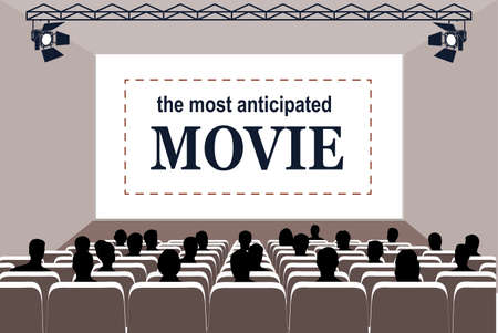 People in the cinema hall vector illustration. Stock Illustratie