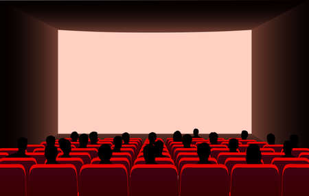 People in the cinema on the background of the screen. Stockfoto - 106725041