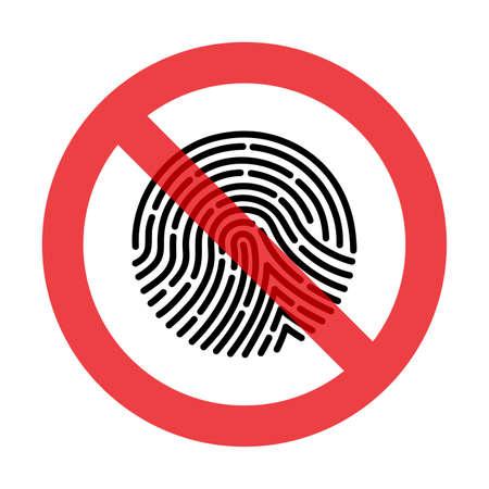 Prohibiting sign fingerprint vector icon. Çizim