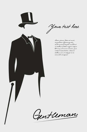 Silhouette of a gentleman in a tuxedo. Illustration