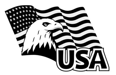 Symbole du pygargue à tête blanche de l'Amérique du Nord. Vecteurs