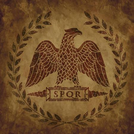 the Roman eagle on an old shabby texture. Векторная Иллюстрация