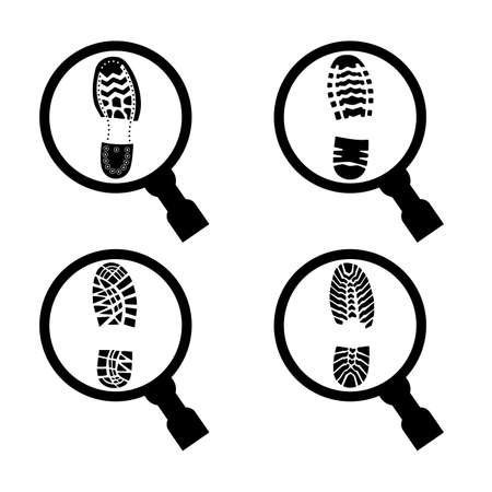 Imprint of a shoe sole under a magnifying glass.  イラスト・ベクター素材