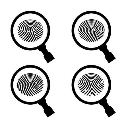 Fingerprint under the magnifying glass.  イラスト・ベクター素材