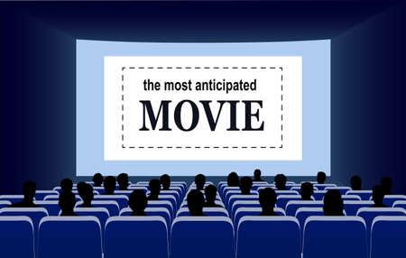 People in the cinema hall vector illustration. Illustration