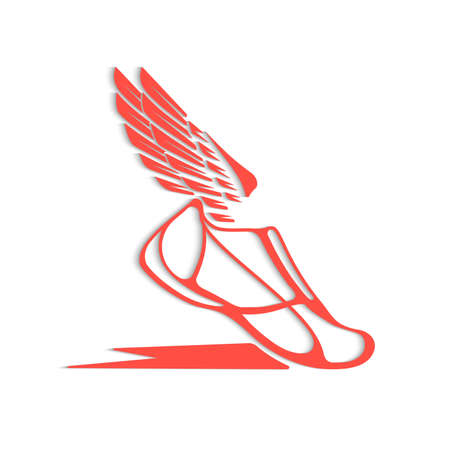 Abstract icon of sports shoes with wings in dynamics. 向量圖像