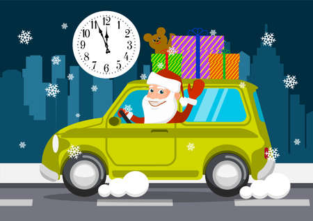 Merry Santa Claus on a car carries gifts. vector illustration
