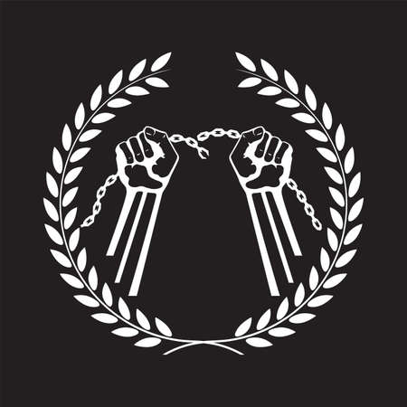 Hands tearing a chain framed with a laurel wreath.