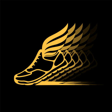Abstract icon of sports shoes with wings in dynamics. Çizim