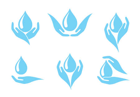 Hands holding water drop icon, concept of clean water consumption. Ilustrace