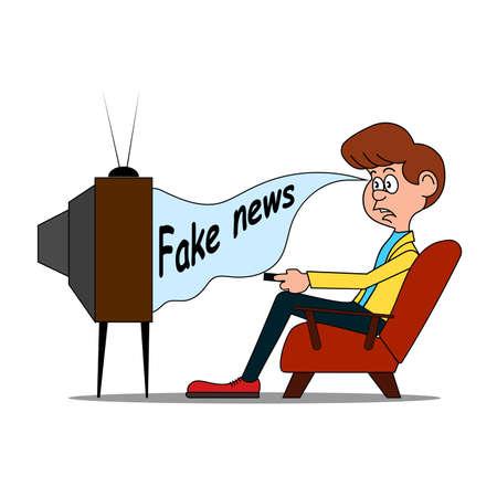 Hombre divertido de dibujos animados viendo la televisión.