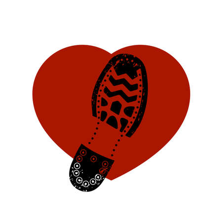 Sole of a boot presses heart a vector icon.