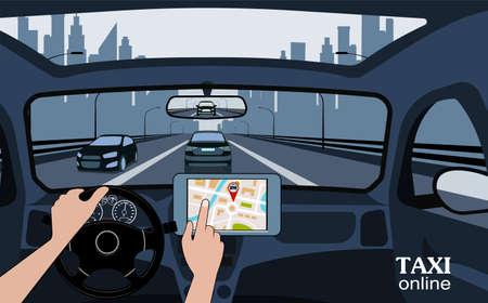 Taxi-Online-Ansicht aus dem Auto. Vektorgrafik