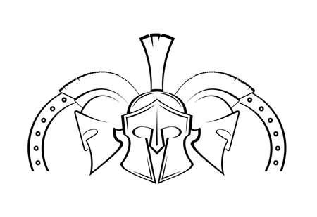 Spartan helmet military symbol vector icon. Stock Illustratie