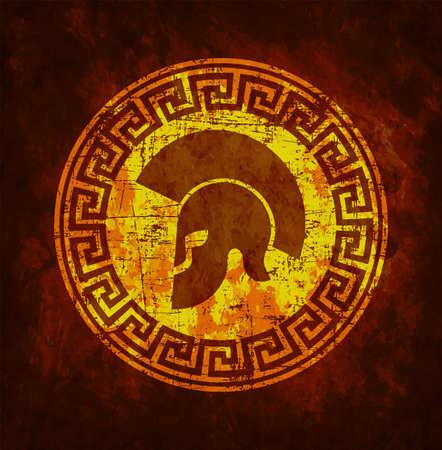 Old shabby symbol of Spartan warrior in grunge style. Stock Illustratie